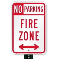 Bidirectional No Parking Fire Zone Signs