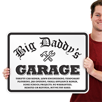 Big Daddys Garage Signs