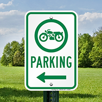 Bike Parking Signs with Left Arrow