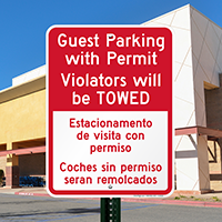 Bilingual Guest Parking With Permit Signs
