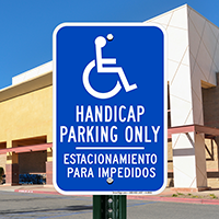 Bilingual Handicap Parking Only Signs