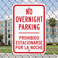 Bilingual No Overnight Parking Signs