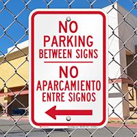 Bilingual No Parking Between Sign, Left Arrow