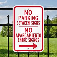 Bilingual No Parking Between Sign, Right Arrow
