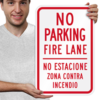 No Parking Fire Lane Bilingual Signs