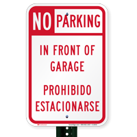 Bilingual No Parking In Front Of Garage Signs