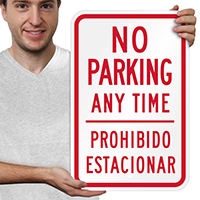 No Parking Prohibido Estacionar Sign