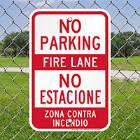 Bilingual No Parking Fire Lane Sign