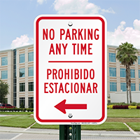Bilingual Parking Prohibited Sign