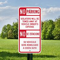 Bilingual No Parking Violators Towed Away Signs