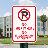 Bilingual No Truck Parking Signs