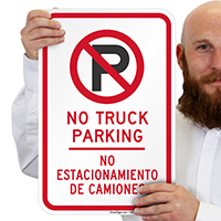 Bilingual No Truck Parking Signs