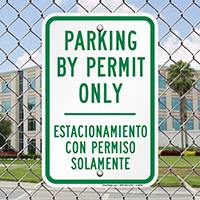 Bilingual Parking By Permit Only Signs