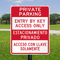 Bilingual Private Parking Entry By Key Access Signs