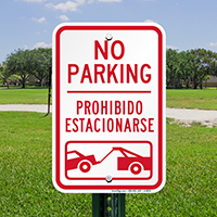 Bilingual No Parking With Car Tow Graphic Signs