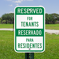 Bilingual Reserved For Tenants Signs