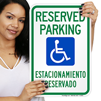 Bilingual Reserved Parking With Handicap Symbol Signs