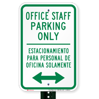 Bilingual Office Staff Parking Only Signs