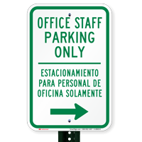Bilingual Office Staff Parking With Right Arrow Signs