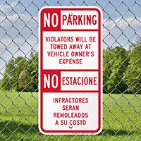Bilingual Restricted Parking Sign