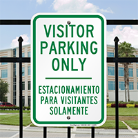 Bilingual Visitor Parking Only Signs