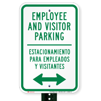 Bilingual Employee Visitor Parking With Bidirectional Arrow Signs