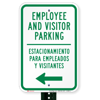 Bilingual Employee Visitor Parking With Left Arrow Signs
