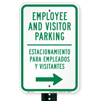 Bilingual Employee Visitor Parking With Right Arrow Signs