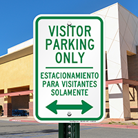 Bilingual Visitor Parking Only With Bidirectional Arrow Signs
