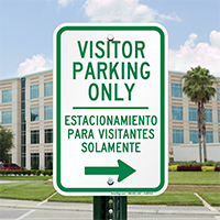 Bilingual Visitor Parking Only With Right Arrow Sign