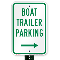 Boat Trailer Parking Signs with Right Arrow Symbol