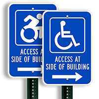 Access Side Building Handicapped Signs
