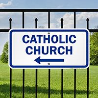 Catholic Church with Left Arrow Signs