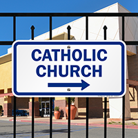 Catholic Church with Right Arrow Signs