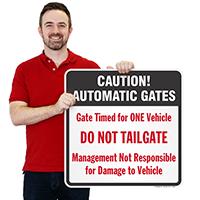 Caution Automatic Gates Signs