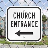 Church Entrance with Left Arrow Signs