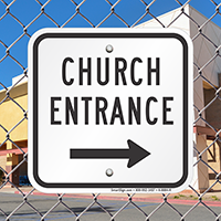 Church Entrance with Right Arrow Signs