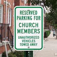 Reserved Parking for Church Members Signs