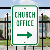 Church Office with Right Arrow Signs