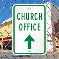 Church Office with Up Arrow Signs