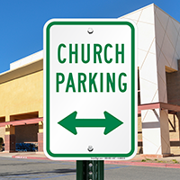 Church Parking with Bidirectional Arrow Signs