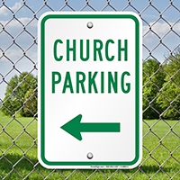Church Parking with Left Arrow Signs