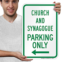 Church And Synagogue Parking With Left Arrow Signs