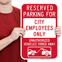Reserved Parking For City Employees Only Signs