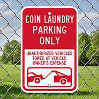 Coin Laundry Only Reserved Parking Signs