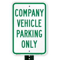 Company Vehicle Parking Only Signs