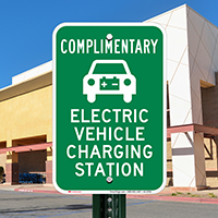 Complimentary Electric Vehicle Charging Station Signs