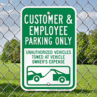 Customer And Employee Parking Only Signs