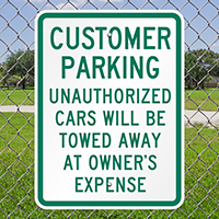 Customer Parking Unauthorized Cars Towed Signs