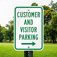 Customer And Visitor Parking With Right Arrow Signs